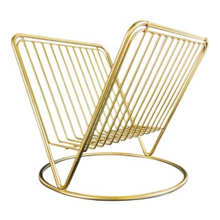1960s Gold Metal Magazine Rack For Sale