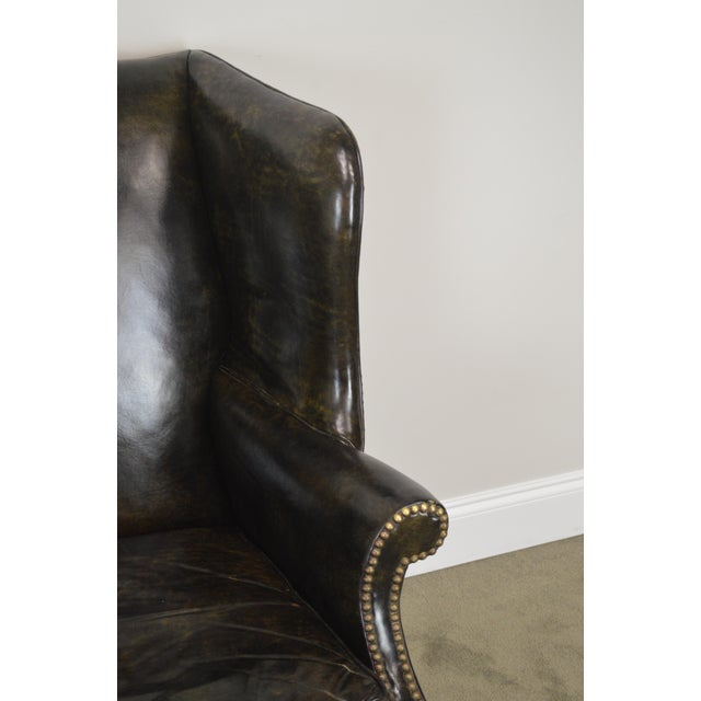 Chippendale Style Dark Green Leather Mahogany Wing Chair For Sale - Image 11 of 13