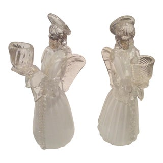 Pair of Vintage Venetian Glass Angels Candle Holders For Sale