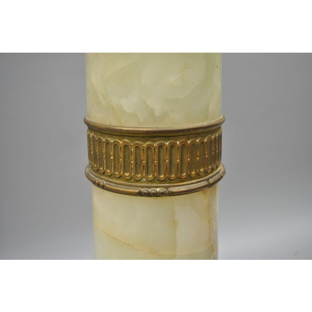 Metal 19th Century Onyx & Bronze Column Revolving Statue Pedestal French Empire Style For Sale - Image 7 of 12