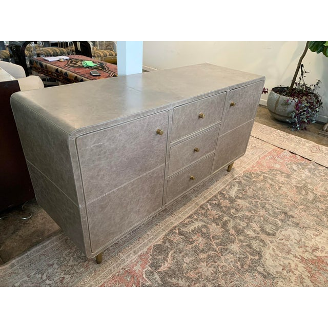 Mid-Century Modern Leather Buffet For Sale - Image 4 of 6