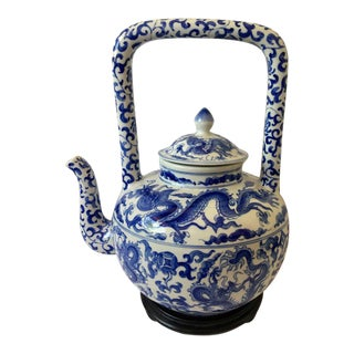 Vintage Chinese Blue and White Porcelain Water Kettle For Sale