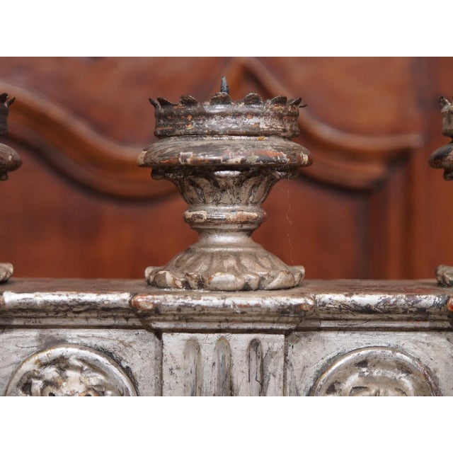Stone 19th Century Italian Silver Gilt Candelabras - Pair For Sale - Image 7 of 7