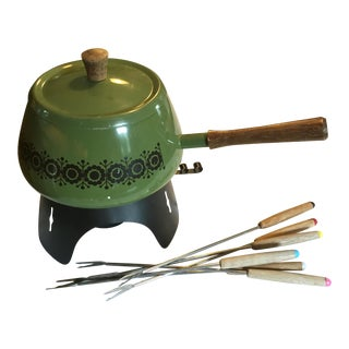 Vintage Green Mid-Century Fondue Pot with Six Skewers For Sale