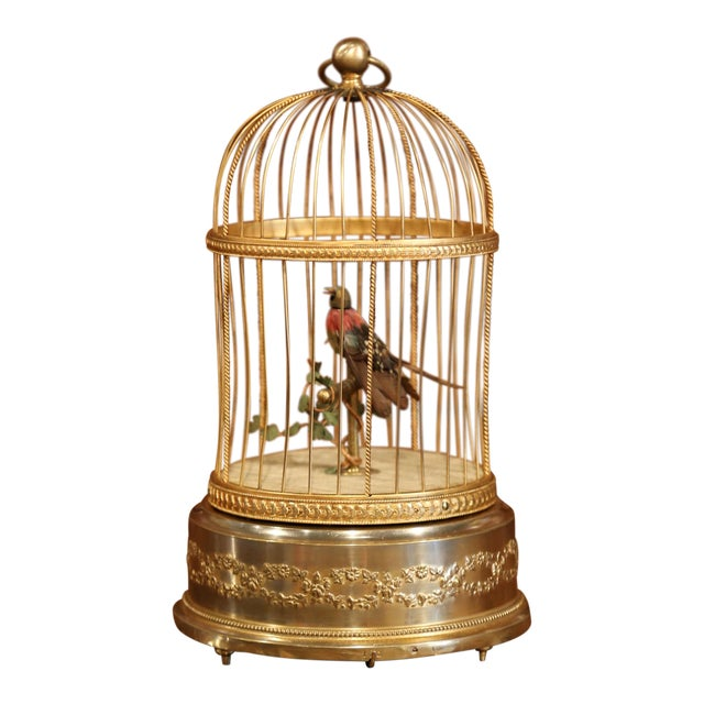 19th Century French Automaton Singing Bird in Brass Cage For Sale