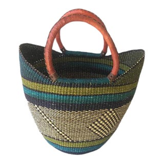 Bolga Ghana Green Yikene Woven Basket For Sale
