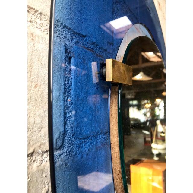Fontana Arte Fontana Arte Rare Light Blue Sculptural Wall Mirror by Max Ingrand, Italy, 1958 For Sale - Image 4 of 10