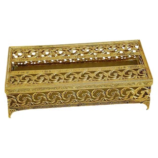 1950s Hollywood Regency Ormolu Filigree Tissue Box