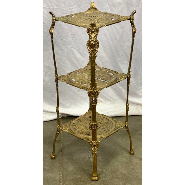Vintage Three Tier Hollywood Regency Style Brass Plant Stand For Sale - Image 4 of 8