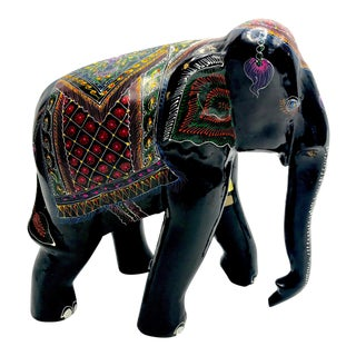 1970s Boho Chic Carved Wood Lacquered Elephant For Sale