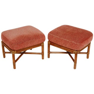 McGuire Bamboo Rattan Upholstered Ottomans - A Pair