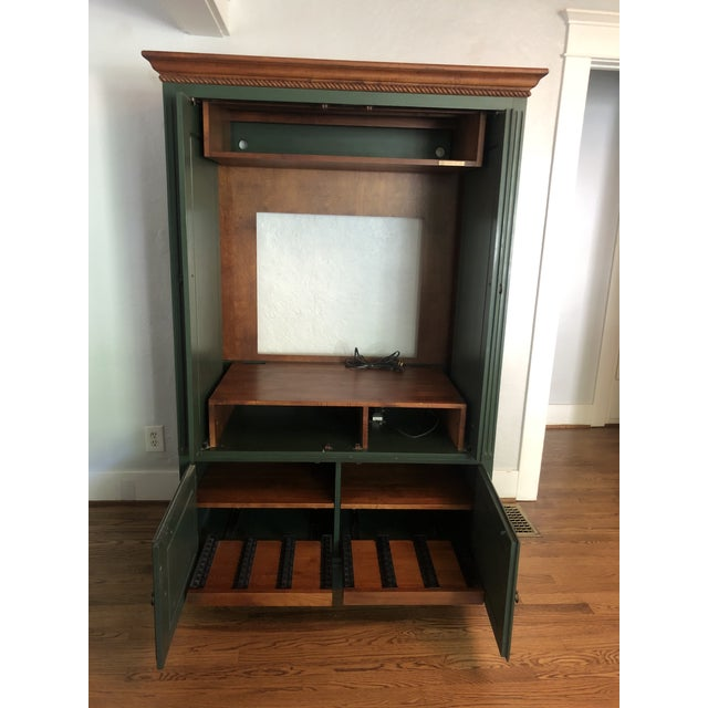 Forest Green Ethan Allen Country Crossings Tv Armoire For Sale - Image 8 of 12