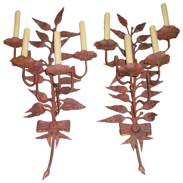Red Italian Mid Century Iron Sconces - A Pair For Sale - Image 8 of 8