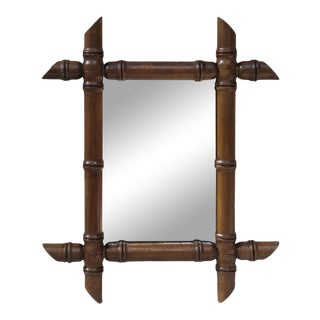 1920s Vintage French Faux Bamboo Mirror For Sale