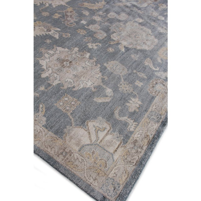 Wood Chester Hand knotted Bamboo/Silk Medium Blue Rug-8'x10' For Sale - Image 7 of 8