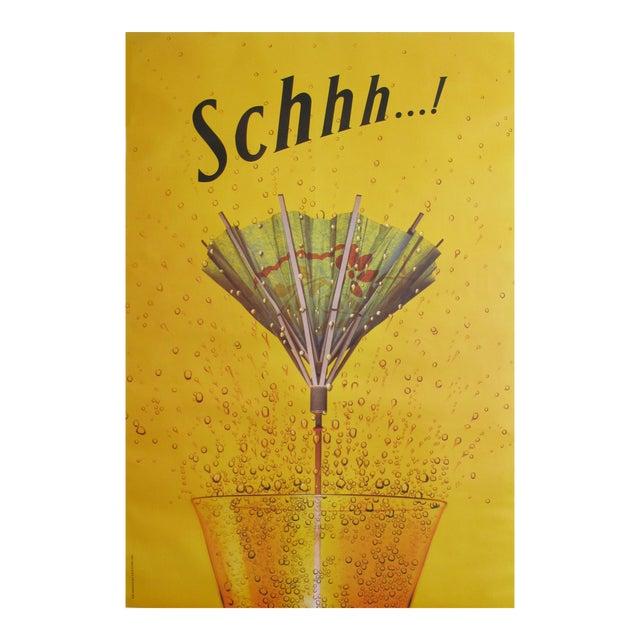 1995 Schweppes Advertising Poster, Schhh...! Umbrella For Sale