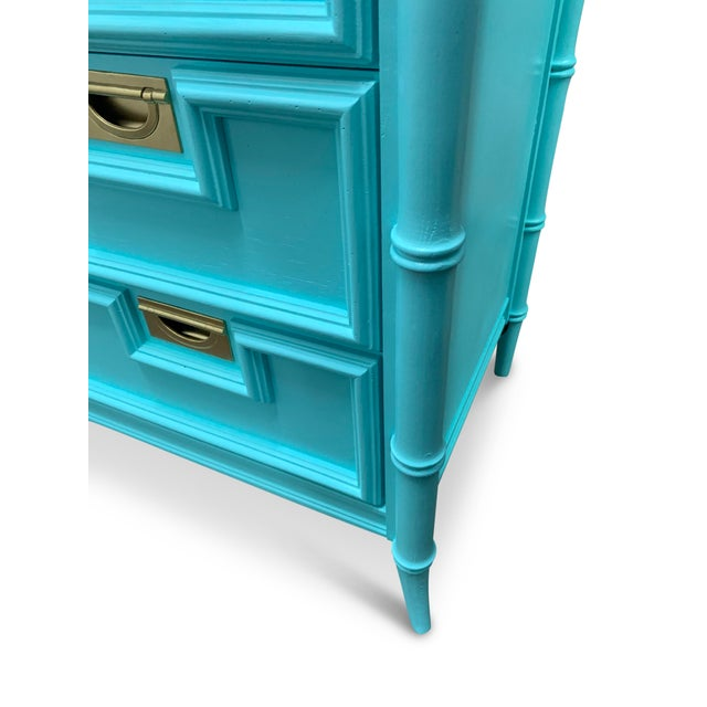 Metal Vintage Century Furniture Chinoiserie Aqua Faux Bamboo Highboy Dresser For Sale - Image 7 of 9