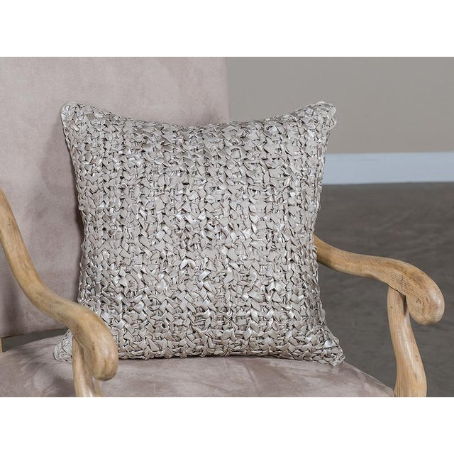 2010s Square Woven Silk Ribbon Pillow For Sale - Image 5 of 5