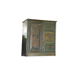 Distressed Solid Wood Cabinet in Rustic Reclaimed Teak Wooden Buffet, 1920s For Sale