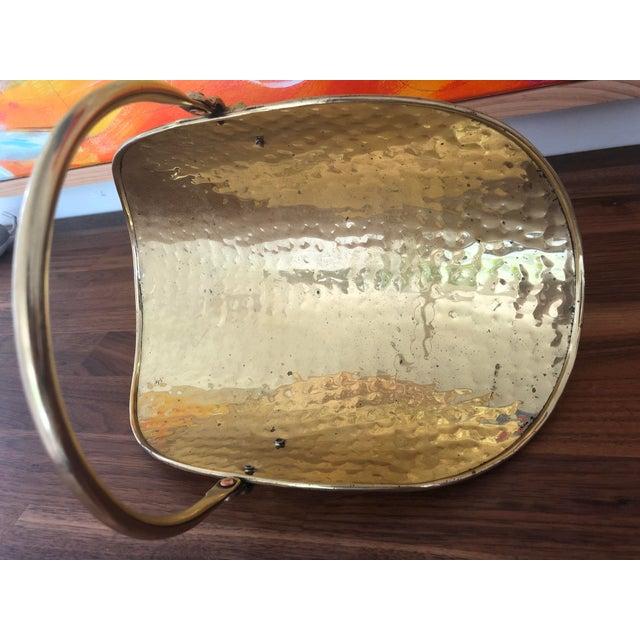 Gold Vintage Hammered Brass Petite Hearth Log Carrier For Sale - Image 8 of 13
