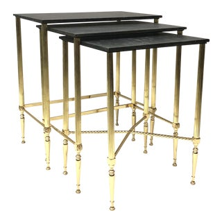 Nesting Tables French Neo Classic Brass With Slate Tops, 1940s For Sale