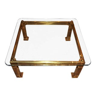1970s Mastercraft Brass Beveled Coffee Table