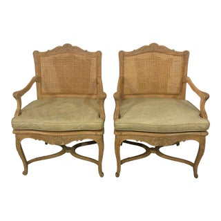 Vintage Caned Back Bergere Arm Chairs - a Pair For Sale