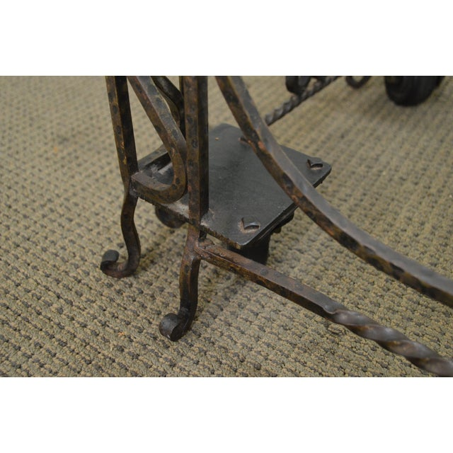 Iron Vintage Hand Forged Iron Casket Carrier Base on Castors For Sale - Image 7 of 11