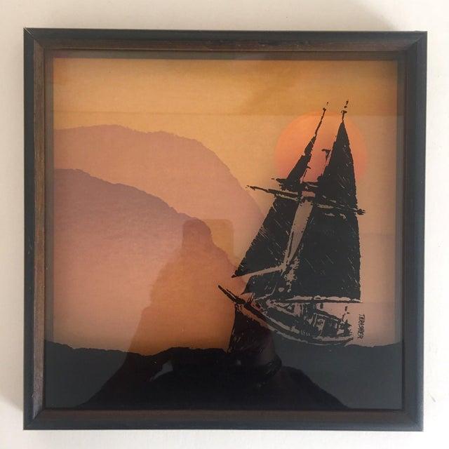 "Wood 1974 Vintage Modernist Virgil Thrasher ""Lucid Lines"" Painted Glass 3d Shadow Box Art - 3 Piece Set For Sale - Image 7 of 11"