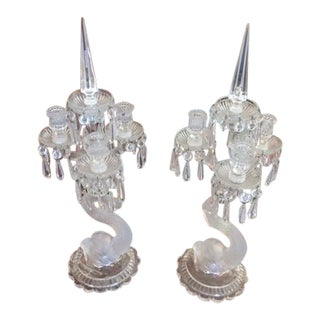 1900's-1920's Baccarat Dolpline Candle Holders - a Pair For Sale
