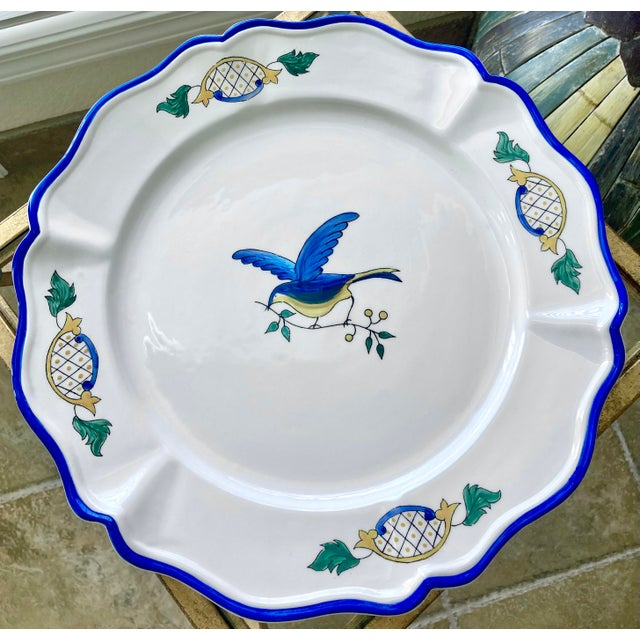 1980s Scalloped Border Hand Painted Bluebird Earthenware Platter Made in the Philippines For Sale - Image 9 of 12