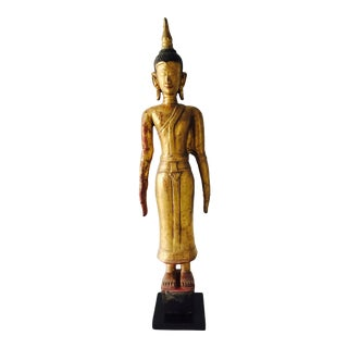 Early 20th Century Antique Carved Gilt Wood Religious Thai Laos Buddha Sculpture For Sale