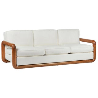Solid Oak Sofa in the Style of Jean Royère For Sale