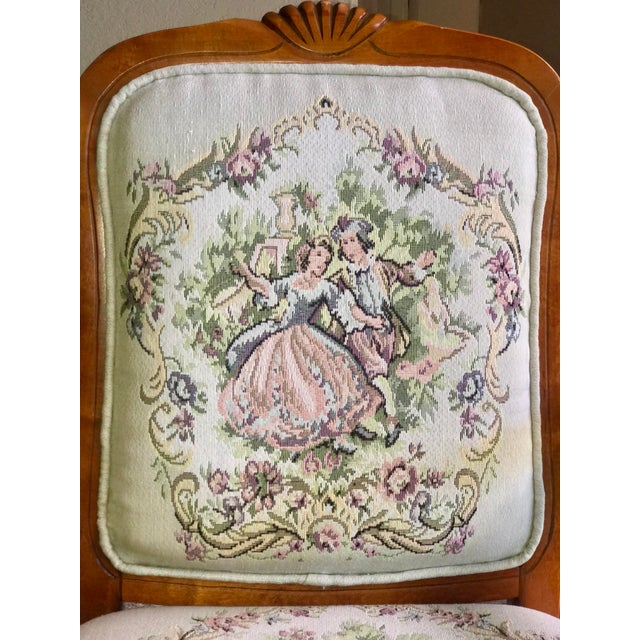 Green French Provincial Tapestry Salon Chairs - A Pair For Sale - Image 8 of 13