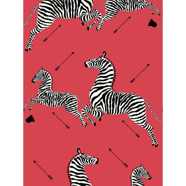 Scalamandre Zebras Masai Red Wallpaper