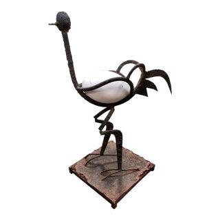 Mid 20th Century American Roadrunner With Egg Metal Folk Art Sculpture For Sale