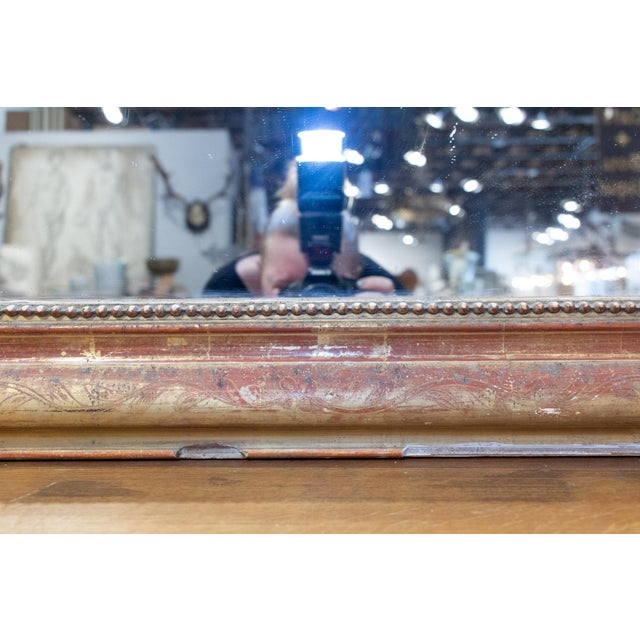 Antique French Gilt Louis Philippe Mirror With Floral Decoration For Sale - Image 12 of 13