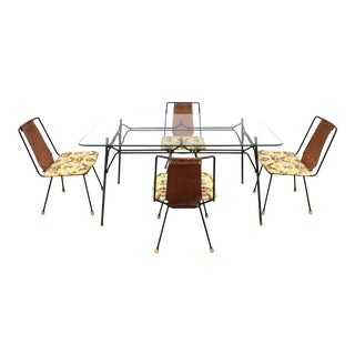 Mid-Century Modern Leather and Iron Salterini Patio Dining Set - 5 Pieces For Sale