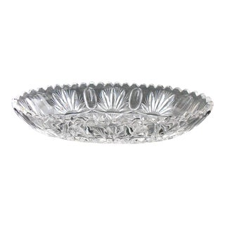 Vintage Saw Tooth Edge Oval Crystal Bowl