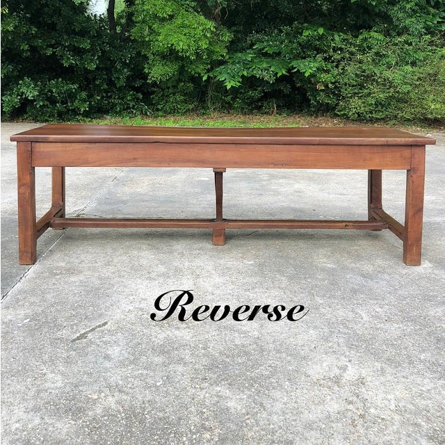 9th Century French Cherrywood Farm Table With Pair Benches For Sale - Image 4 of 13