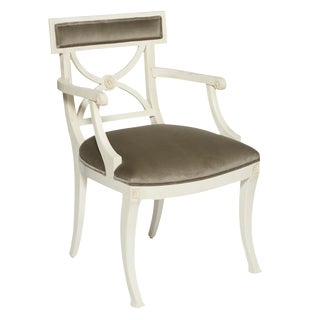 Schumacher Westminster Gainsborough Velvet Grey Hand-Carved Beechwood Armchair For Sale
