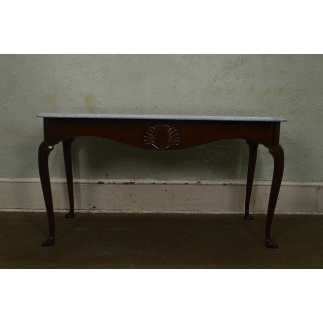 Traditional Kittinger Colonial Williamsburg Cwiss Mahogany Marble Top Mixing Table Console For Sale - Image 3 of 13