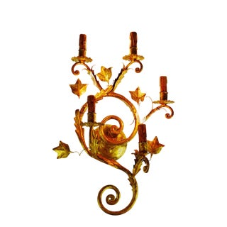 Vintage Large 5 Arm Spanish Rococo Style Gilt Tole Candelabra Wall Sconce For Sale