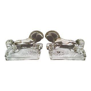 Vintage L. E. Smith Art Deco Clear Pressed Glass Stallion Bookends - a Pair For Sale