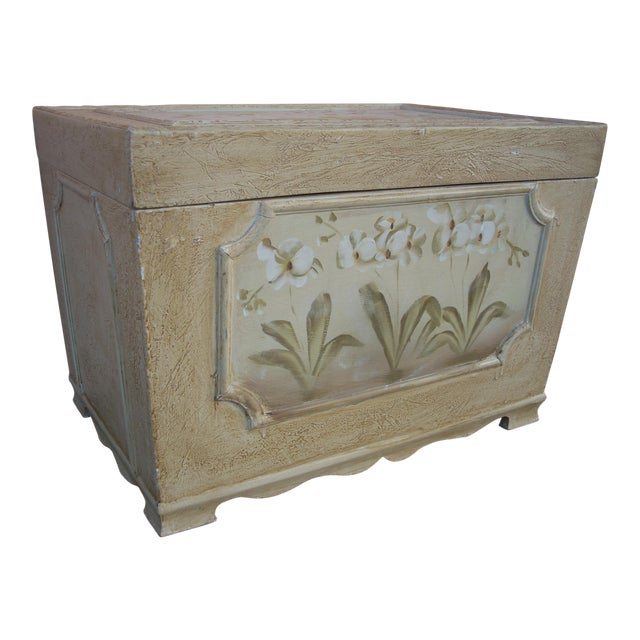 Antiqued Cream Painted Chest For Sale