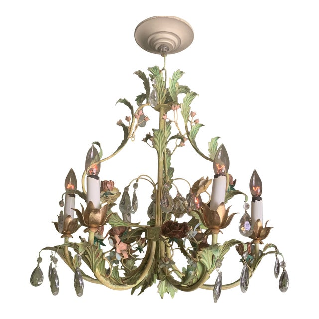 Green Iron Floral Chandelier For Sale