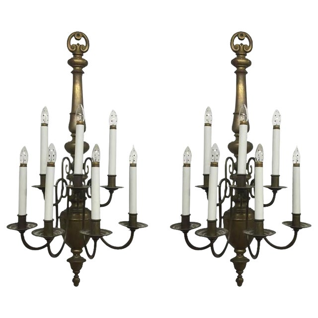 Williamsburg Style Brass Electrified Sconces - A Pair - Image 1 of 9