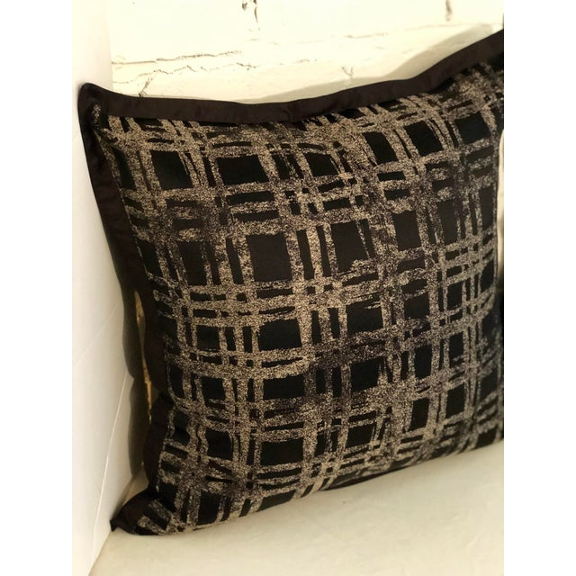 """Silk Pair of 20"""" Black and Gilt Silk Pillows by Jim Thompson For Sale - Image 7 of 11"""