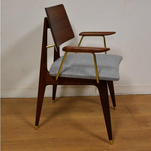 Walnut & Brass Occasional Chair - Image 2 of 11