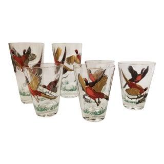 Vintage Hazel Atlas Golden Pheasant Glass Barware - Set of 6 For Sale